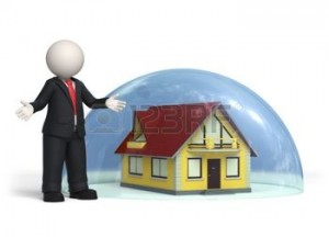 10821656-3d-man-standing-commerciale-vicino-casa-coperto-da-una-semisfera-di-vetro--assicurazioni-concetto-di